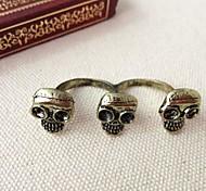 Retro Fashion Damen Gold-Legierung Schädel-Öffnung Ring
