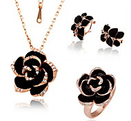Fashion Gold Gold Plated (Necklace&Ring&Earrings) Rose Pendant Jewelry Set(Black)