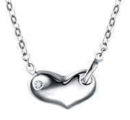 Women's Stylish Silver Necklace White Gold Heart-Shaped Pendant imitation