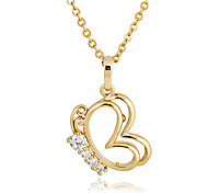 Gold plated bronze zircon Butterfly-Shaped Pendant Necklace D0340