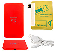 Red Wireless Power Charger Pad + USB Cable + Receiver Paster(Gold) for Samsung Galaxy S3 I9300