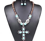 European Turquoise Cross Women's Alloy (Necklaces&Earrings) Jewelry Set