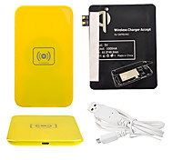 Amarelo Wireless Power Charger Pad + Cabo USB + Receptor Paster (Black) para Samsung Galaxy S3 I9300