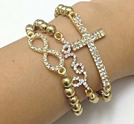 Fashion Set von 3 CCB Perlen mit Sideways Klar Strass Love / Intersect / Unendlich Shamballa-Armband Stretch-Süßigkeit