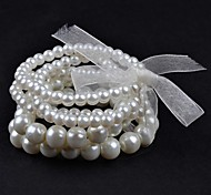 5Pcs Ribbon Tied Pearl Bracelet