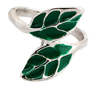 Fashion Green Leaves Women's Silver Alloy Statement Rings(1 Pc)