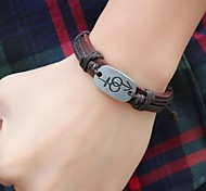 Vintage  24cm Unisex Brown Leather Leather Bracelet (1 Pc)