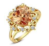 Luminoso Anillo Corazón de Oro Austria Crystal Océano Champagne