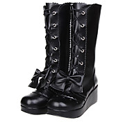 Black PU Leather Bowknot Classic Lolita 7.5cm High-heeled Boots