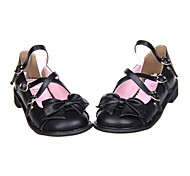 Bowknot Heart Design Sweet Lolita Black  PU 2.5cm Shoes