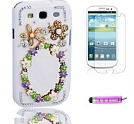 Beautiful Mirror Plastic Phone Shell +HD Film + Mini Stylus 3 in1 for Samsung Galaxy S3 i9300