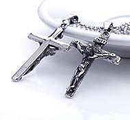 Personalisierte Geschenke für Männer Edelstahl Jesus kreuzförmigen Gravur Anhänger mit Halskette 60cm Kette