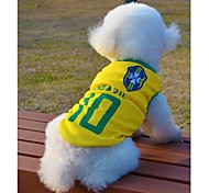Soccer World Cup Sports Mesh Fabric Clothing Vest for Dogs Pets(Brazil)