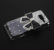 Black Bowknot with Rhinestone Pattern Transparent Plastic Hard Back Case Cover for MOTO RAZR D3