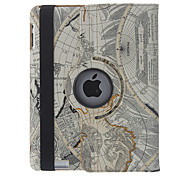 Retro Style The World Map Navigation Abdeckung 360 Rotate-Fall für iPad 2/3/4