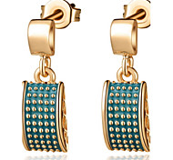 European Gold Or Silver Plated With Dark Green Rectangle Drop Women's Earrings(More Colors)