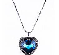 1PC Vintage Heart Glass Pendant Necklace