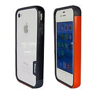 Fashion Double Color TPU Frame Bumper for iPhone4S(Black+Orange)