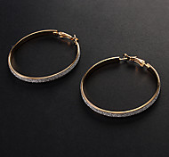 Fashion Assorted Color Alloy Hoop Earrings(Gold,Silver)(1 Pair)