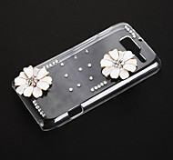 White Lotus Pattern Transparent Plastic Hard Back Case Cover for MOTO RAZR D3