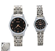 Personalized Gift  Couple's Black  Case  Steel Band Quartz Analog Wrist Engraved Watch with Gift Box