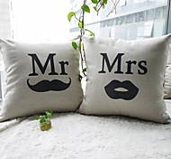conjunto de 2 Mr.Mustache e mrs.lip algodão / linho fronha decorativo