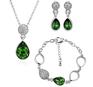 Environmental Alloy Green Crystal White-Plated Jewelry Full Set