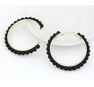 Fashion Imitation Pearl Surrounded Gold Alloy Hoop Earrings(Black,White,Beige) (1 Pc)