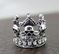 Z&X®  Gothic Silver Alloy Skull Crown Men's Clear Rhinestone Statement Rings(1 Pc)