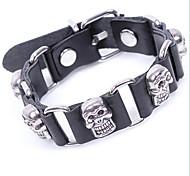 Z&X®  Punk Skull 25cm Men's Black Leather&Alloy Leather Bracelet (1 Pc)
