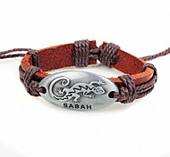 Z&X®  Fashion Gecko 24cm Men's Coffee LeatherZ&Alloy Leather Bracelet (1 Pc)