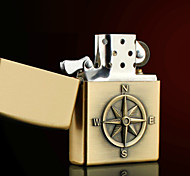 Personalized Father's Day Gift Engraved Compass Pattern Bronze Oil Lighter