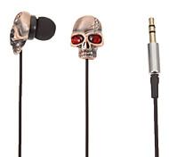 TM01 Gold Skull-Shaped Stereo In-Ear Headphone(Red Eyes)
