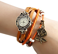 Women's Rose Pendant Leather Band Quartz Bracelet Watch (Assorted Colors)