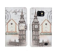 Big Ben Wallet Card Leather Case Cover Pouch met standaard voor Samsung Galaxy S II S2 I9100
