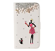 DIY Fashion Girl and Cat with Rhinestone Full Body Leather Case with Stand for Samsung Galaxy Note 3 N9000
