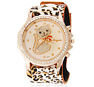 Women's Diamond Lovely Cat Pattern Leopard Print Rubber Band Quartz Analog Wrist Watch (Assorted Colors)