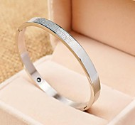 Fashion Cross and Letters 6cm Women's Silver 316L Stainless Steel Bangle