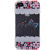 Elegant Floral & Bowknot Pattern Back Case for iPhone 4/4S