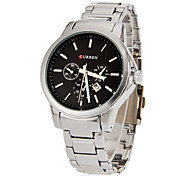 Men's Calendar Round Dial Steel Band Quartz Analog Wrist Watch (Assorted Colors)