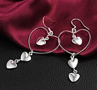 Gift For Girlfriend Sweet Heart To Heart Drop Silver Plated Drop Earrings (1 Pair)