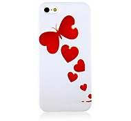 Red Butterfly and Heart Pattern Silicone Soft Case for iPhone 5/5S