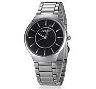 simples rodada relógio de pulso banda de aço de prata de marcação de quartzo analógico dos homens