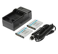 ismartdigi 1000mAh Camera Battery(2pcs)+Car Charger for SONY W180 W190 S980 S950