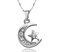 Platinum Plated Austria Crystal Moon Star Pendant Necklace