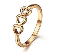 Rose anneau plaqué or triple de coeur