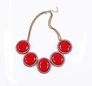 (1 Pc)European (Large Round Sugar Jelly) Golden Alloy Pendant Necklace(Light Blue, Orange, Yellow, Red,White,)