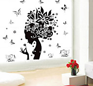 1PCS Black Flower Fairy Wall Sticker