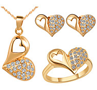 Heart Gold Silver Plated (Necklaces&Earrings&Rings) Wedding Jewelry Sets