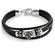 Punk Rose 22cm Unisex Black Leather With Silver Alloy Leather Bracelet(1 Pc)